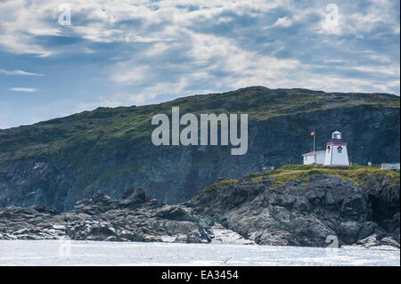 Fox Head lighthouse in St. Anthony, Newfoundland, Canada, North America - Stock Photo