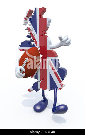 3d map of united kingdom colored with flag, with arms, legs and rugby ball on hand - Stock Photo