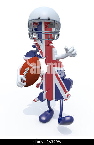 3d map of united kingdom colored with flag, with arms, legs, rugby ball on hand and helmet - Stock Photo