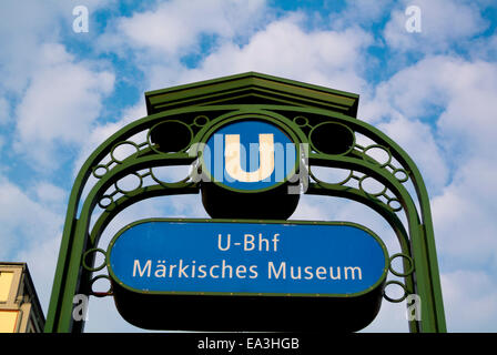 U Bahn, metro sign, Märkisches Museum, Friedrichstadt, Mitte district, central Berlin, Germany - Stock Photo