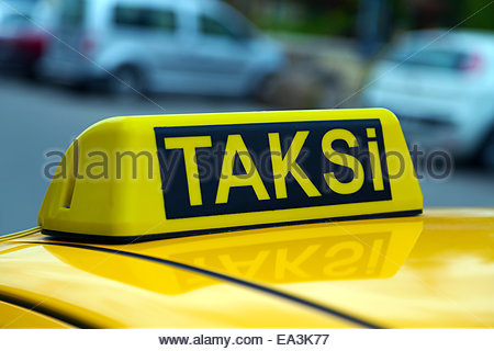 taxi istanbul yellow sign - Stock Photo