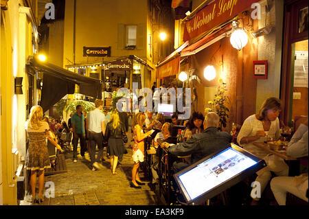 Street restaurants in Cannes - Stock Photo