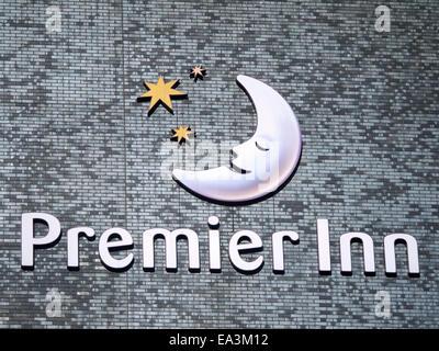 Premier Inn logo on outside wall in Manchester UK - Stock Photo