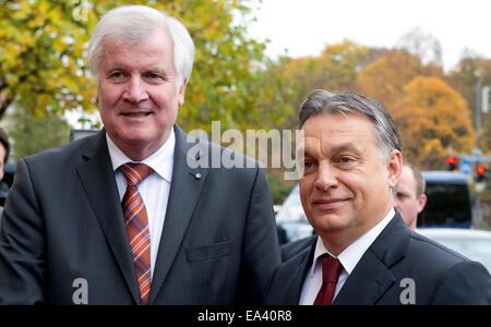 Munich, Germany. 06th Nov, 2014. Bavarian Premier Horst Seehofer welcomes Hungarian Prime Minister Viktor Orban - Stock Photo
