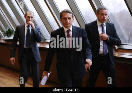 Moscow, Russia. 6th Nov, 2014. Russia's State Duma chairman Sergei Naryshkin (C) attends the opening of the 'World - Stock Photo