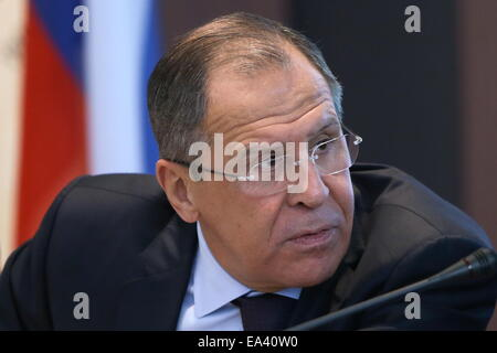 Moscow, Russia. 6th Nov, 2014. Russia's foreign minister Sergei Lavrov attends the opening of the 'World War I and - Stock Photo