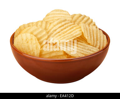 Wavy potato chips with ridges, sometimes called ruffles, in a brown ceramic bowl isolated on a white background. - Stock Photo