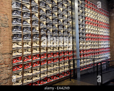 Converse sneakers laid out in the pattern of an American flag at the Converse store on Broadway in Greenwich Village, - Stock Photo