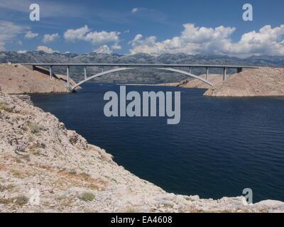 Bridge to the island of Pag, Croatia - Stock Photo