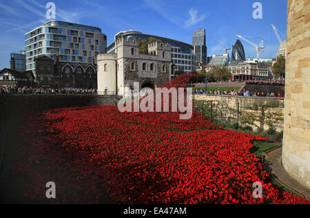 Ceramic poppy installation Blood Swept Lands and Seas Of Red at The Tower of London - Stock Photo