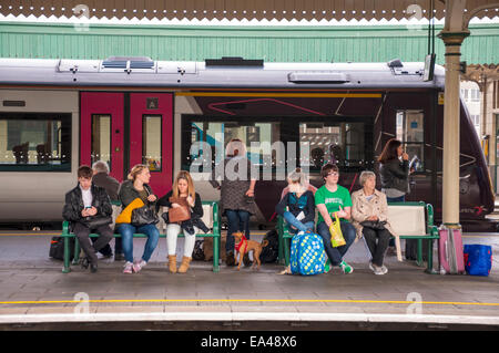 Passengers at Cardiff Central Station in Wales UK - Stock Photo