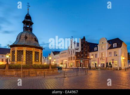 Waterworks at the market, Wismar, Mecklenburg-Western Pomerania, Germany - Stock Photo
