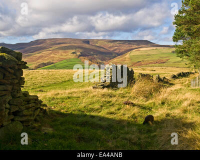 Kinder Scout from Hope Cross  in the Peak District National Park , UK - Stock Photo
