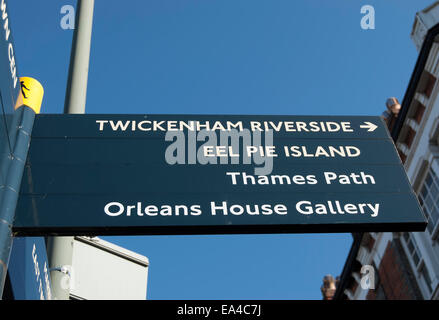 signpost in twickenham, middlesex, england, giving local directions - Stock Photo