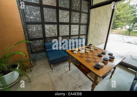 Table for draughts (checkers) game - Stock Photo