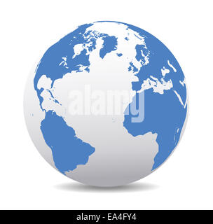 Europe, North, South America, Africa Global World, World Earth Icon Globe Map, Vector Map Icon of the world in Globe - Stock Photo