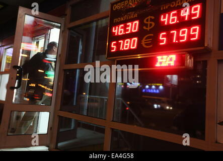Moscow, Russia. 6th Nov, 2014. A digital board with currency exchange rates in a street in Moscow. Credit:  Pavel - Stock Photo
