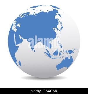 ASIA China Japan World Earth Icon Globe Map - Stock Photo