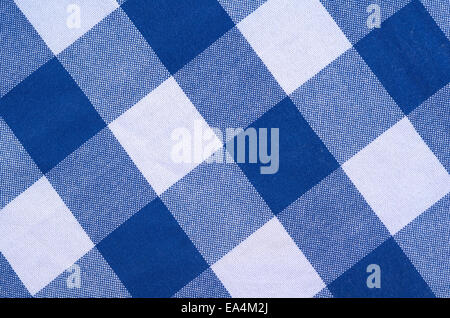... Blue And White Checkered Tablecloth   Stock Photo