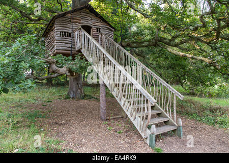 Wooden tree house, Plas Newydd Country House and Gardens, Anglesey, North Wales, UK - Stock Photo
