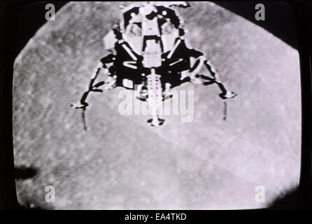 Moon landing 20 July 1969 photographed in actual time on the television in Los Angeles, California  KATHY DEWITT - Stock Photo
