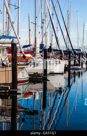 Line of sailing vessels in a marina, Sidney, British Columbia - Stock Photo