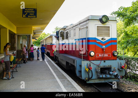 A train in the Huvos Valley terminus station of the children's railway, on the outskirts of Budapest, Hungary - Stock Photo