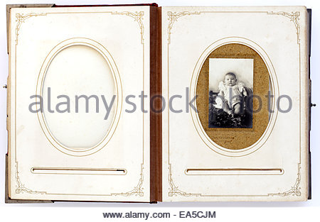 open vintage photo album from late 1800s - Stock Photo