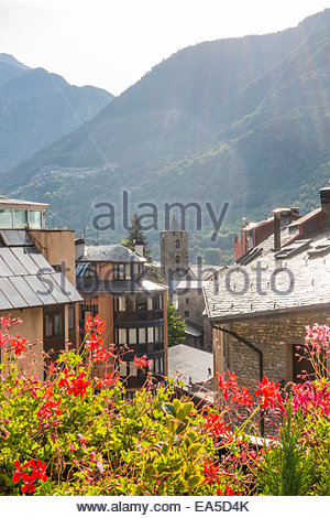 Andorra, Andorra la Vella, historic city center - Stock Photo