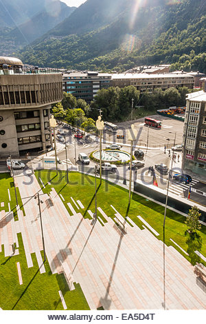 Andorra, Andorra la Vella, Parliament building and Placa Lidia Armengol Vila - Stock Photo