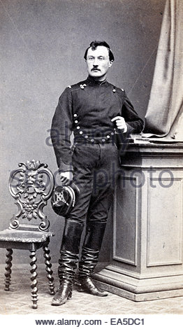 adult man posing in military uniform France 1800s - Stock Photo