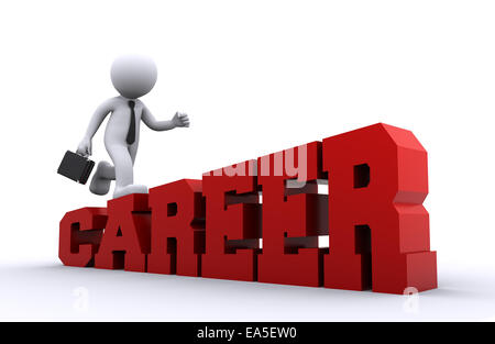 3d character climbing on the job ladder. - Stock Photo