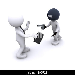 3d character robbing a businessman. Isolated - Stock Photo
