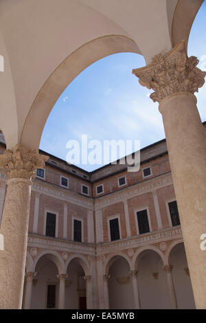 Courtyard of Palazzo Ducale, Urbino (UNESCO World Heritage Site), Le Marche, Italy - Stock Photo