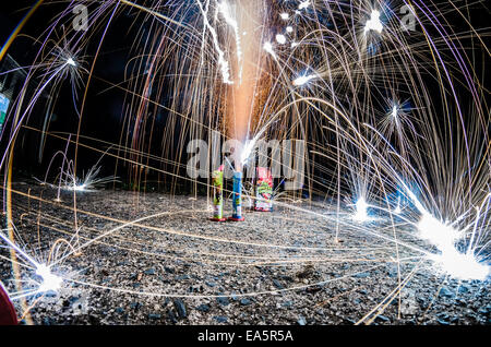 fireworks at home in a driveway - Stock Photo