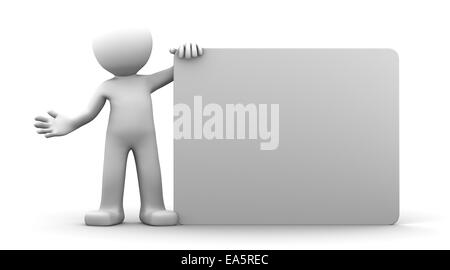 3D character holding a blank billboard. Isolated - Stock Photo