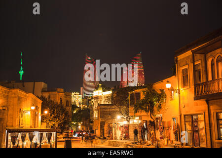 The view of Old City of Baku with The Flame Towers, Azerbaijan - Stock Photo