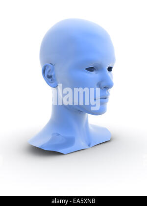 blue metallic 3d human model. digitally generated image. - Stock Photo