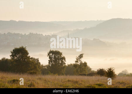 View towards Painswick village in the Cotswold Hills, from Scottsquar Hill. Gloucestershire. UK. - Stock Photo