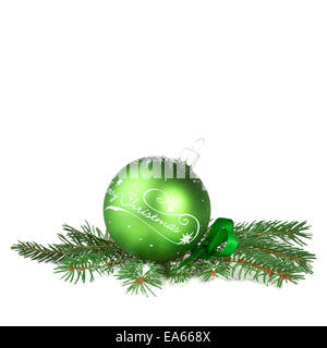 Christmas decoration, green ball with fir branch - Stock Photo
