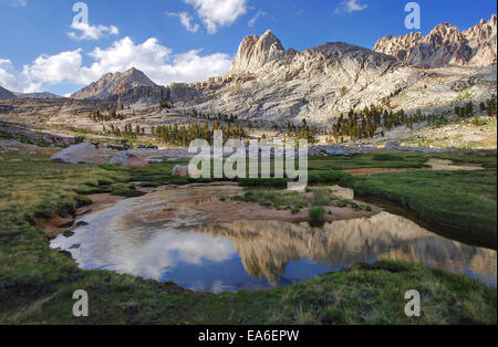 USA, California, Sequoia National Park, Reflections in Miter Basin - Stock Photo