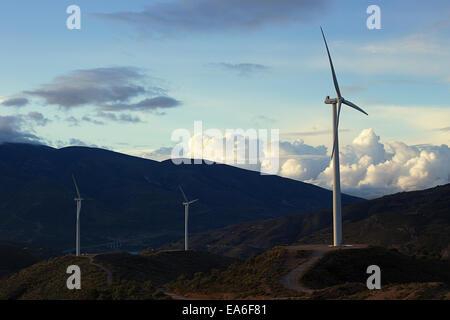 Three wind turbines in rural landscape, Spain
