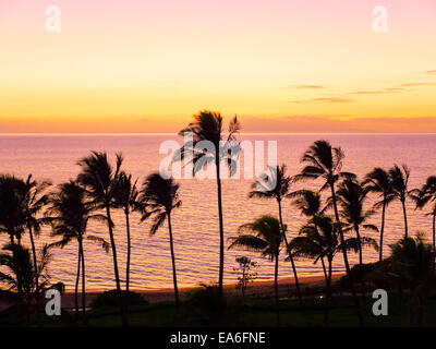 USA, Hawaii, Wailea Pastel Colors Sunset - Stock Photo