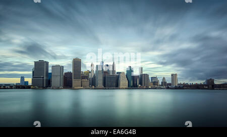 USA, New York State, New York CIty, Long exposure of Manhattan - Stock Photo