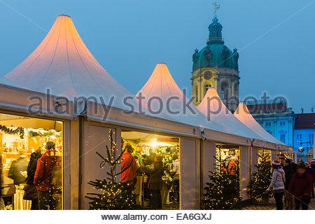 Germany, Berlin, Christmas market at Charlottenburg Palace - Stock Photo