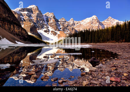 Canada, Banff National Park, View of Moraine Lake and Valley of the Ten Peaks - Stock Photo