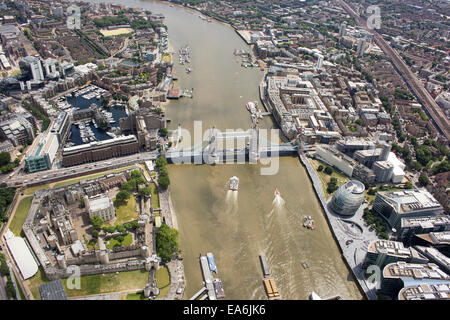 Aerial view of Tower Bridge and city, London, England, UK - Stock Photo