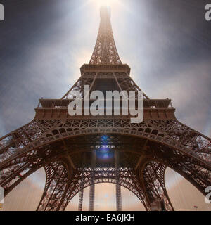France, Paris, Low angle view of Eiffel Tower - Stock Photo
