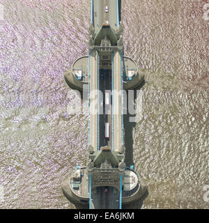 Aerial view of Tower Bridge, London, England, UK - Stock Photo