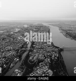 USA, New York, New York City, Aerial view of Manhattan - Stock Photo